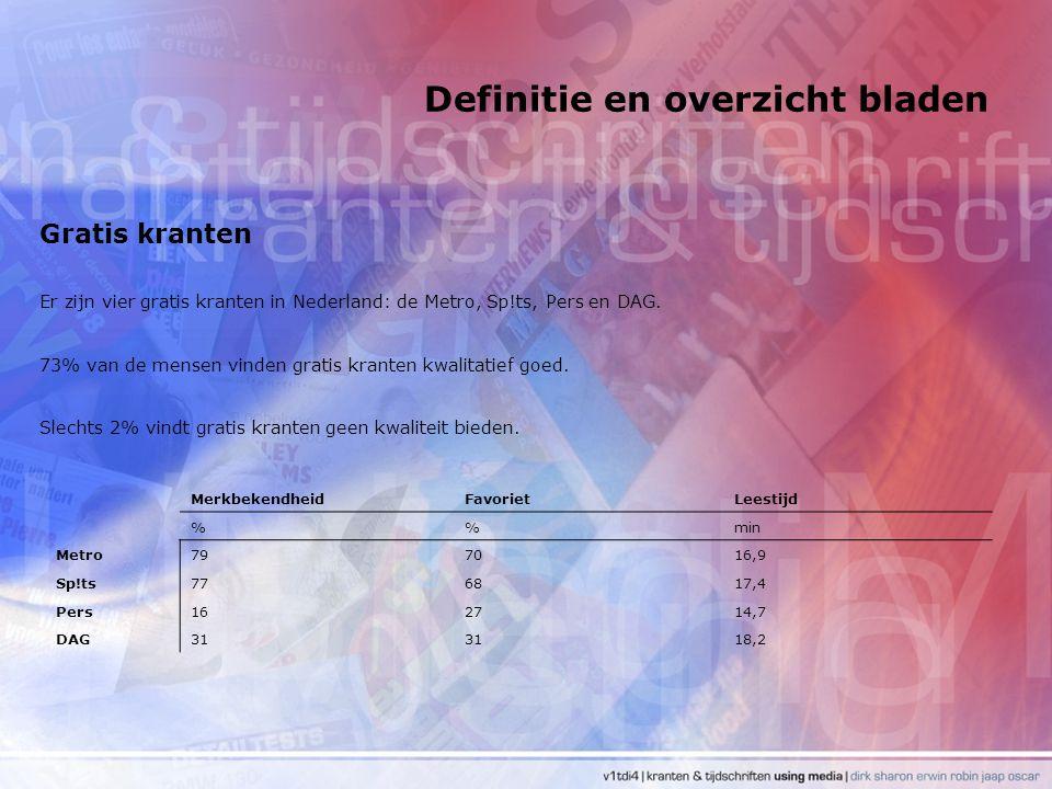 Definitie en overzicht bladen Gratis kranten Er zijn vier gratis kranten in Nederland: de Metro, Sp!ts, Pers en DAG. 73% van de mensen vinden gratis k