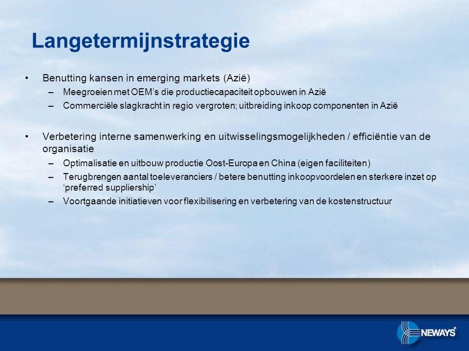•Benutting kansen in emerging markets (Azië) –Meegroeien met OEM's die productiecapaciteit opbouwen in Azië –Commerciële slagkracht in regio vergroten; uitbreiding inkoop componenten in Azië •Verbetering interne samenwerking en uitwisselingsmogelijkheden / efficiëntie van de organisatie –Optimalisatie en uitbouw productie Oost-Europa en China (eigen faciliteiten) –Terugbrengen aantal toeleveranciers / betere benutting inkoopvoordelen en sterkere inzet op 'preferred suppliership' –Voortgaande initiatieven voor flexibilisering en verbetering van de kostenstructuur Langetermijnstrategie