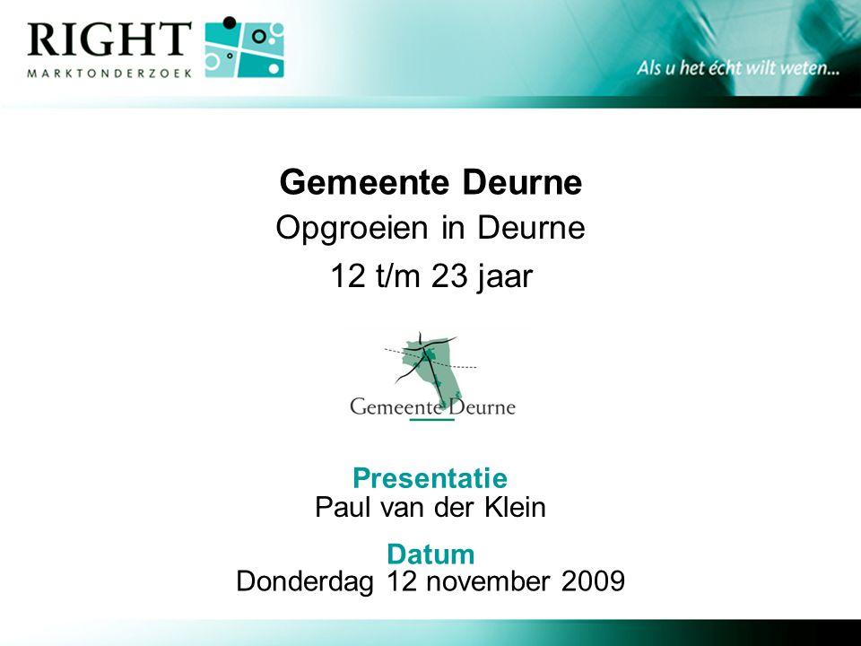 Presentatie Datum Gemeente Deurne Opgroeien in Deurne 12 t/m 23 jaar Paul van der Klein Donderdag 12 november 2009