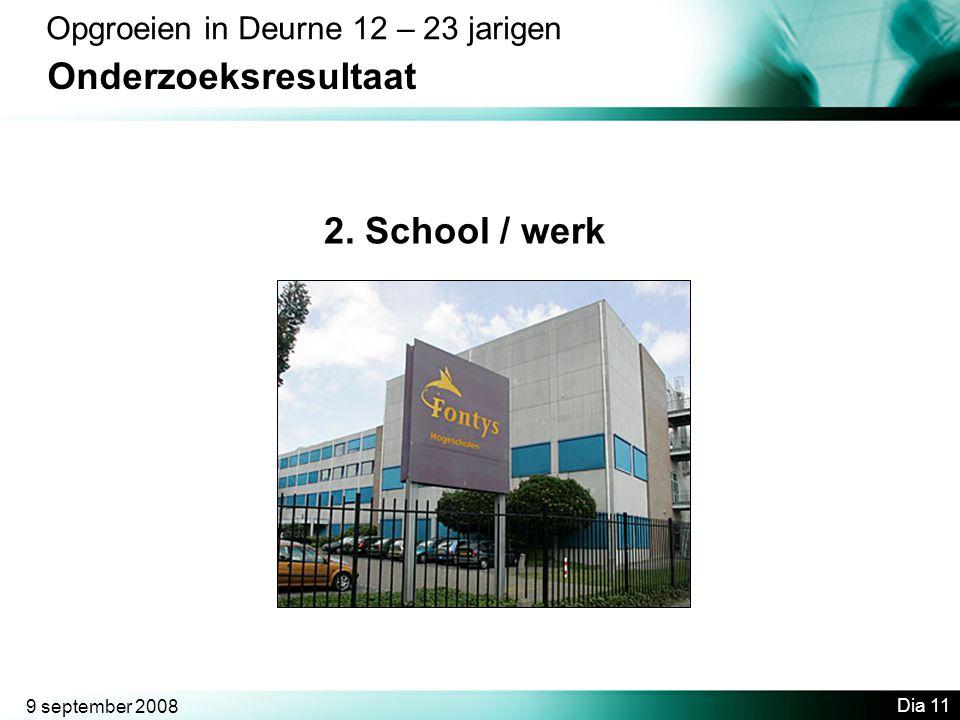 9 september 2008 Dia 11 Opgroeien in Deurne 12 – 23 jarigen Onderzoeksresultaat 2. School / werk