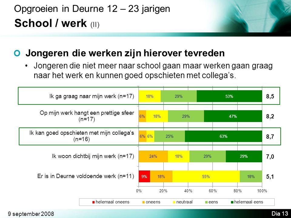 9 september 2008 Dia 13 Opgroeien in Deurne 12 – 23 jarigen School / werk (II) O Jongeren die werken zijn hierover tevreden •Jongeren die niet meer naar school gaan maar werken gaan graag naar het werk en kunnen goed opschieten met collega's.