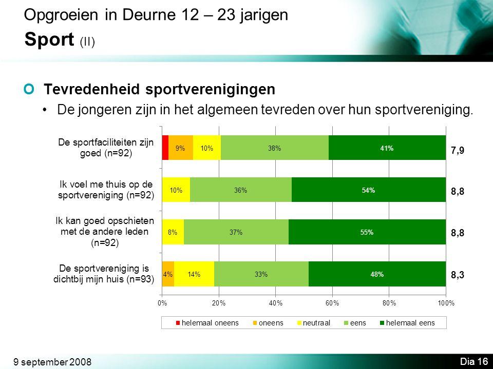 9 september 2008 Dia 16 Opgroeien in Deurne 12 – 23 jarigen Sport (II) O Tevredenheid sportverenigingen •De jongeren zijn in het algemeen tevreden over hun sportvereniging.
