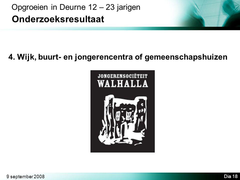 9 september 2008 Dia 18 Opgroeien in Deurne 12 – 23 jarigen Onderzoeksresultaat 4.