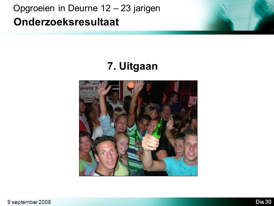 9 september 2008 Dia 30 Opgroeien in Deurne 12 – 23 jarigen Onderzoeksresultaat 7. Uitgaan