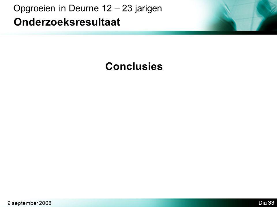 9 september 2008 Dia 33 Opgroeien in Deurne 12 – 23 jarigen Onderzoeksresultaat Conclusies