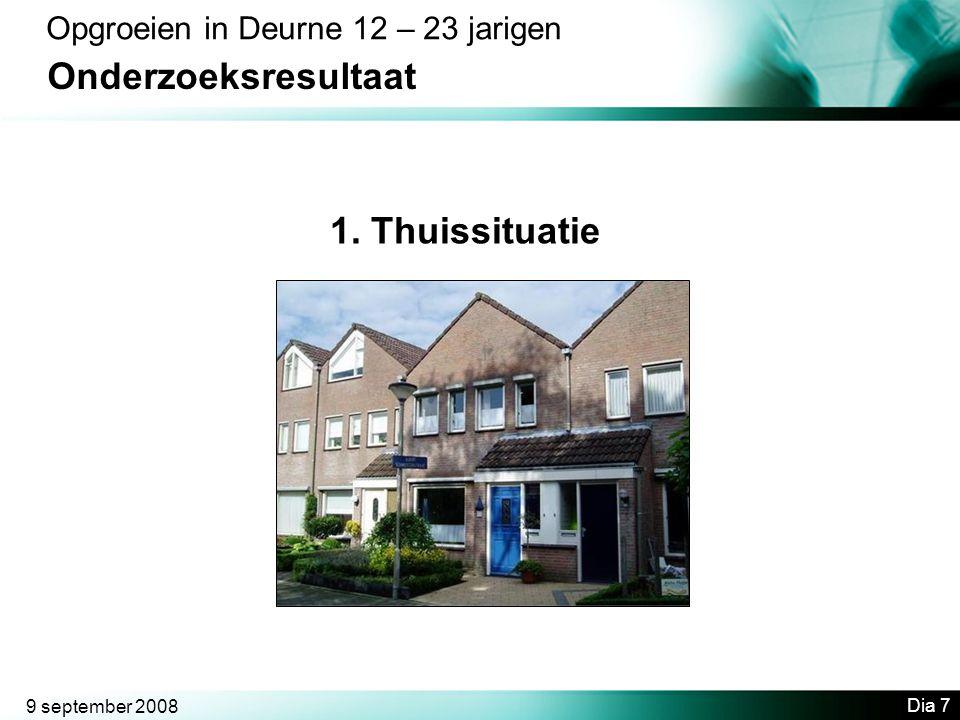 9 september 2008 Dia 7 Opgroeien in Deurne 12 – 23 jarigen Onderzoeksresultaat 1. Thuissituatie