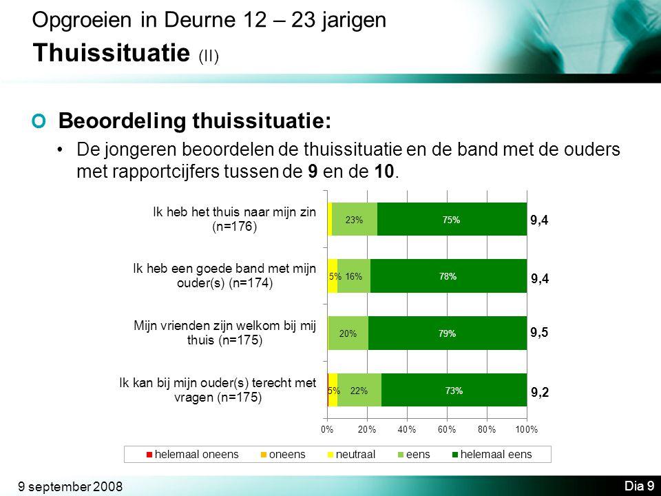 9 september 2008 Dia 9 Opgroeien in Deurne 12 – 23 jarigen Thuissituatie (II) O Beoordeling thuissituatie: •De jongeren beoordelen de thuissituatie en de band met de ouders met rapportcijfers tussen de 9 en de 10.