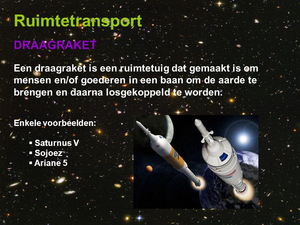 DRAAGRAKET Een draagraket is een ruimtetuig dat gemaakt is om mensen en/of goederen in een baan om de aarde te brengen en daarna losgekoppeld te worde