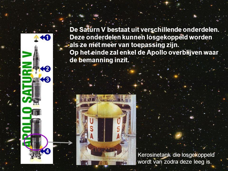 De Saturn V bestaat uit verschillende onderdelen. Deze onderdelen kunnen losgekoppeld worden als ze niet meer van toepassing zijn. Op het einde zal en