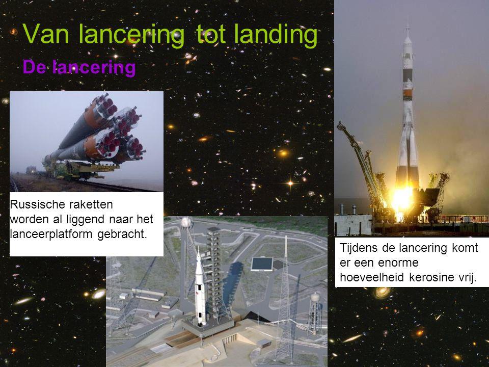 De lancering Van lancering tot landing Russische raketten worden al liggend naar het lanceerplatform gebracht. Tijdens de lancering komt er een enorme