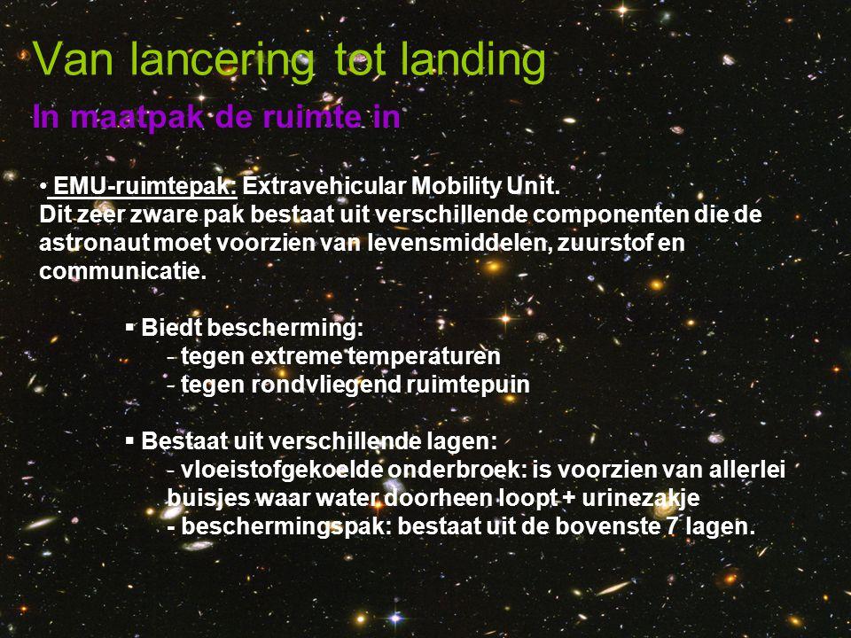 In maatpak de ruimte in Van lancering tot landing • EMU-ruimtepak: Extravehicular Mobility Unit. Dit zeer zware pak bestaat uit verschillende componen