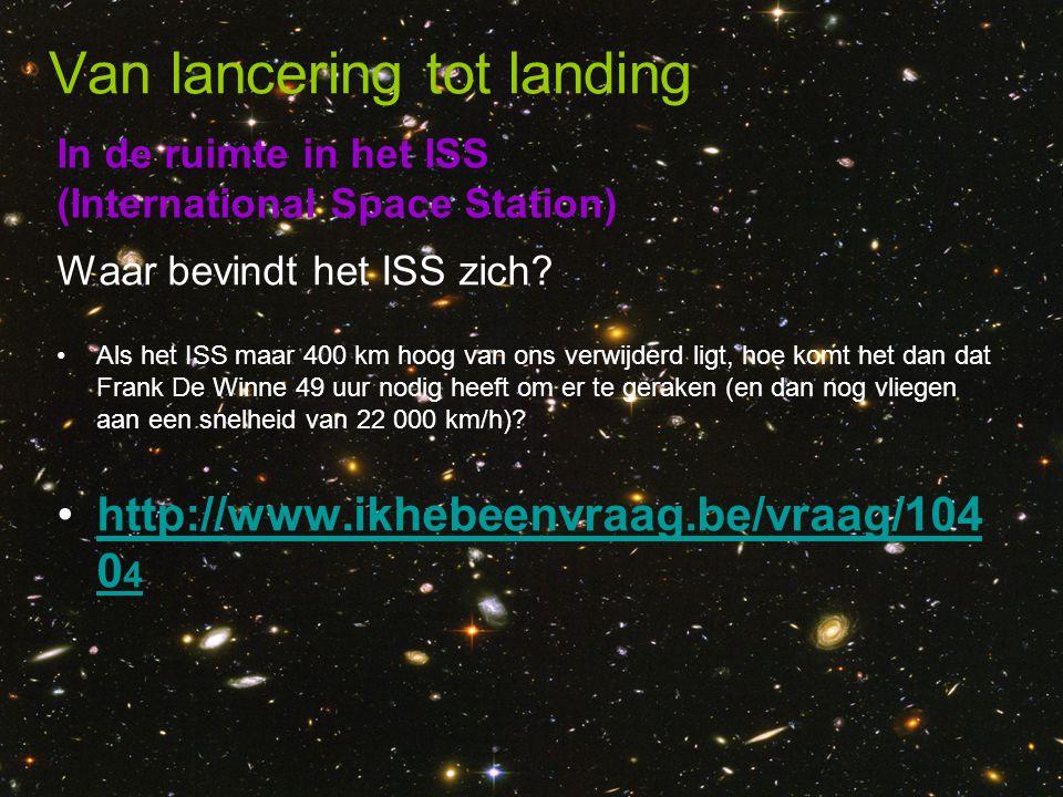 In de ruimte in het ISS (International Space Station) Van lancering tot landing Waar bevindt het ISS zich? •Als het ISS maar 400 km hoog van ons verwi