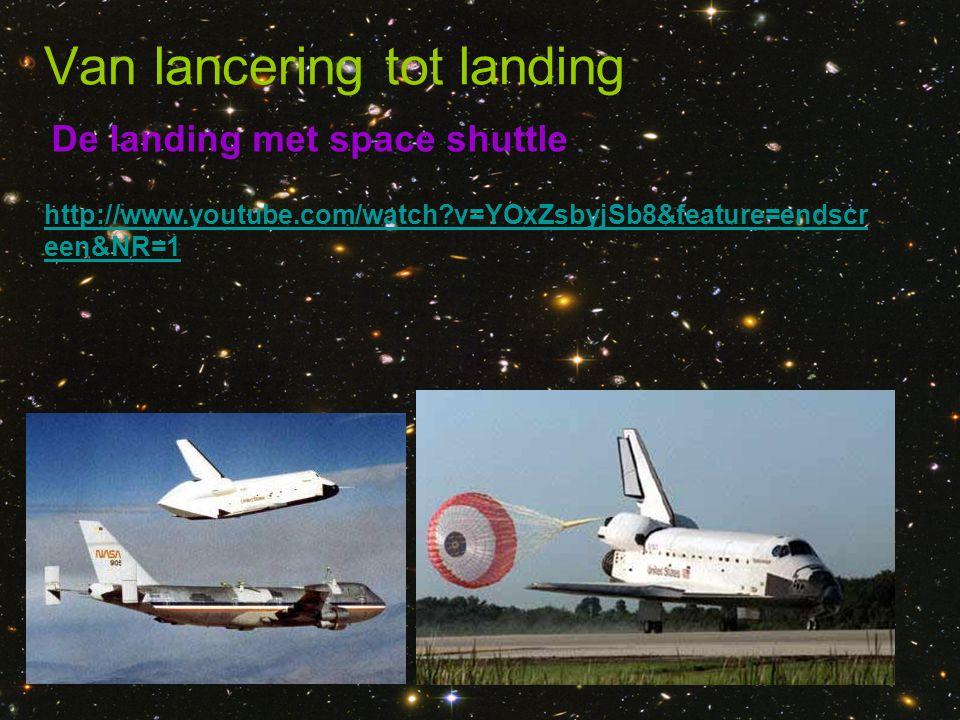 De landing met space shuttle Van lancering tot landing http://www.youtube.com/watch?v=YOxZsbyjSb8&feature=endscr een&NR=1