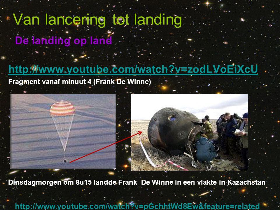De landing op land Van lancering tot landing http://www.youtube.com/watch?v=zodLVoEiXcU Fragment vanaf minuut 4 (Frank De Winne) Dinsdagmorgen om 8u15