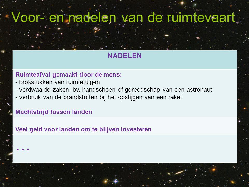 Voor- en nadelen van de ruimtevaart NADELEN Ruimteafval gemaakt door de mens: - brokstukken van ruimtetuigen - verdwaalde zaken, bv. handschoen of ger
