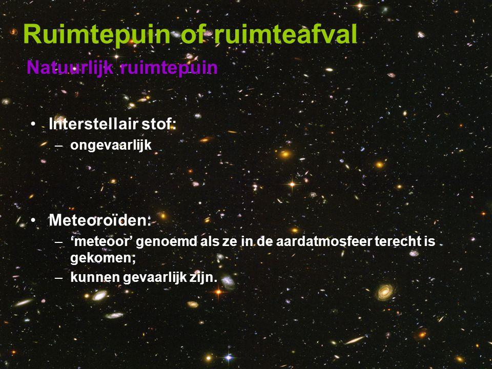 Natuurlijk ruimtepuin Ruimtepuin of ruimteafval •Interstellair stof: –ongevaarlijk •Meteoroïden: –'meteoor' genoemd als ze in de aardatmosfeer terecht