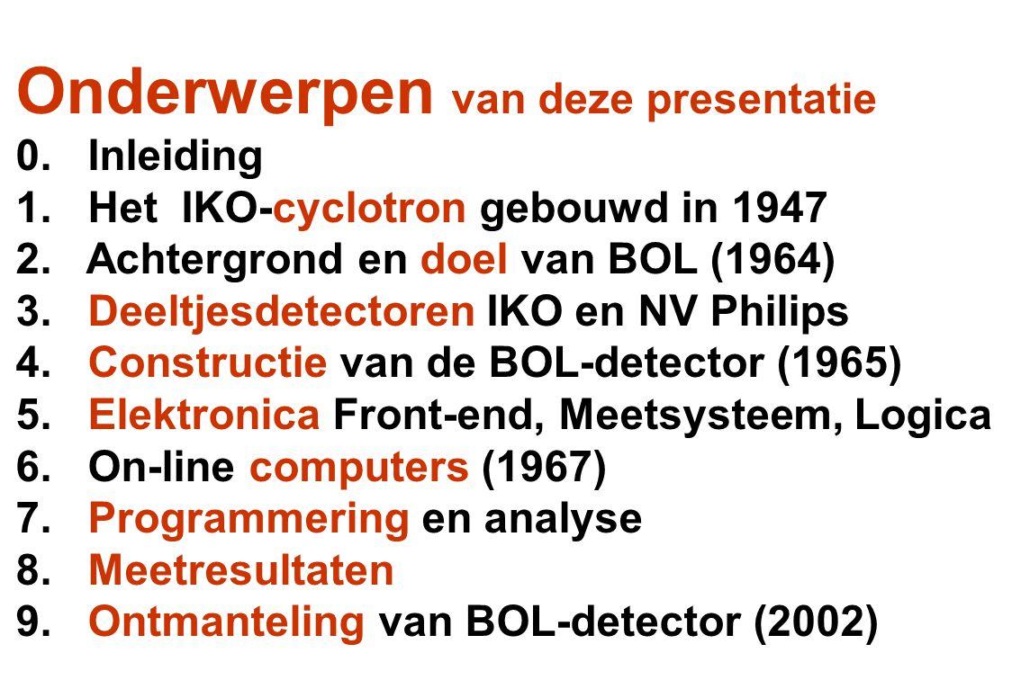 Onderwerpen van deze presentatie 0. Inleiding 1. Het IKO-cyclotron gebouwd in 1947 2. Achtergrond en doel van BOL (1964) 3. Deeltjesdetectoren IKO en