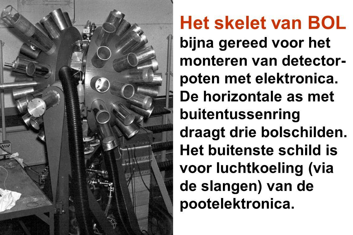 Het skelet van BOL bijna gereed voor het monteren van detector- poten met elektronica. De horizontale as met buitentussenring draagt drie bolschilden.