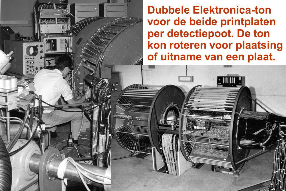 Dubbele Elektronica-ton voor de beide printplaten per detectiepoot. De ton kon roteren voor plaatsing of uitname van een plaat.