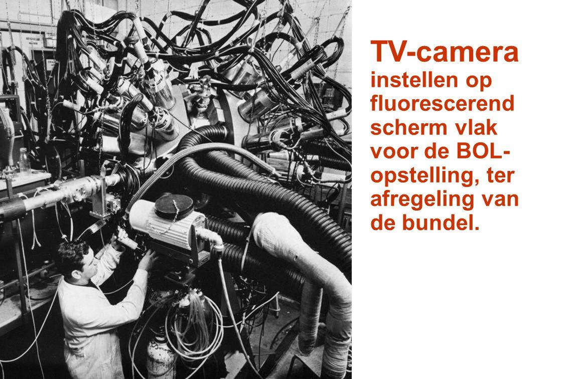 TV-camera instellen op fluorescerend scherm vlak voor de BOL- opstelling, ter afregeling van de bundel.