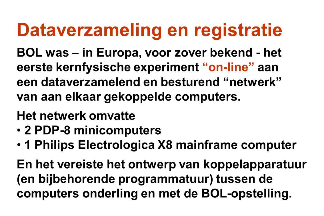 """Dataverzameling en registratie BOL was – in Europa, voor zover bekend - het eerste kernfysische experiment """"on-line"""" aan een dataverzamelend en bestur"""