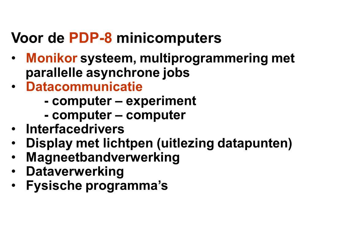 Voor de PDP-8 minicomputers • Monikor systeem, multiprogrammering met parallelle asynchrone jobs • Datacommunicatie - computer – experiment - computer