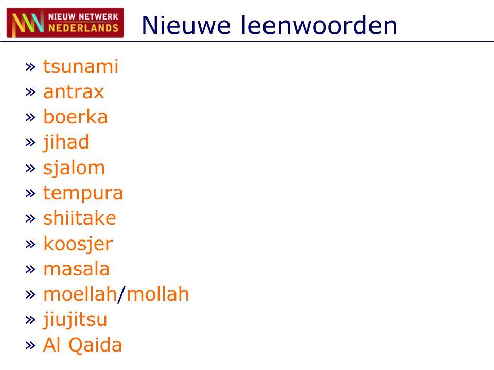 Nieuwe leenwoorden »tsunami »antrax »boerka »jihad »sjalom »tempura »shiitake »koosjer »masala »moellah/mollah »jiujitsu »Al Qaida