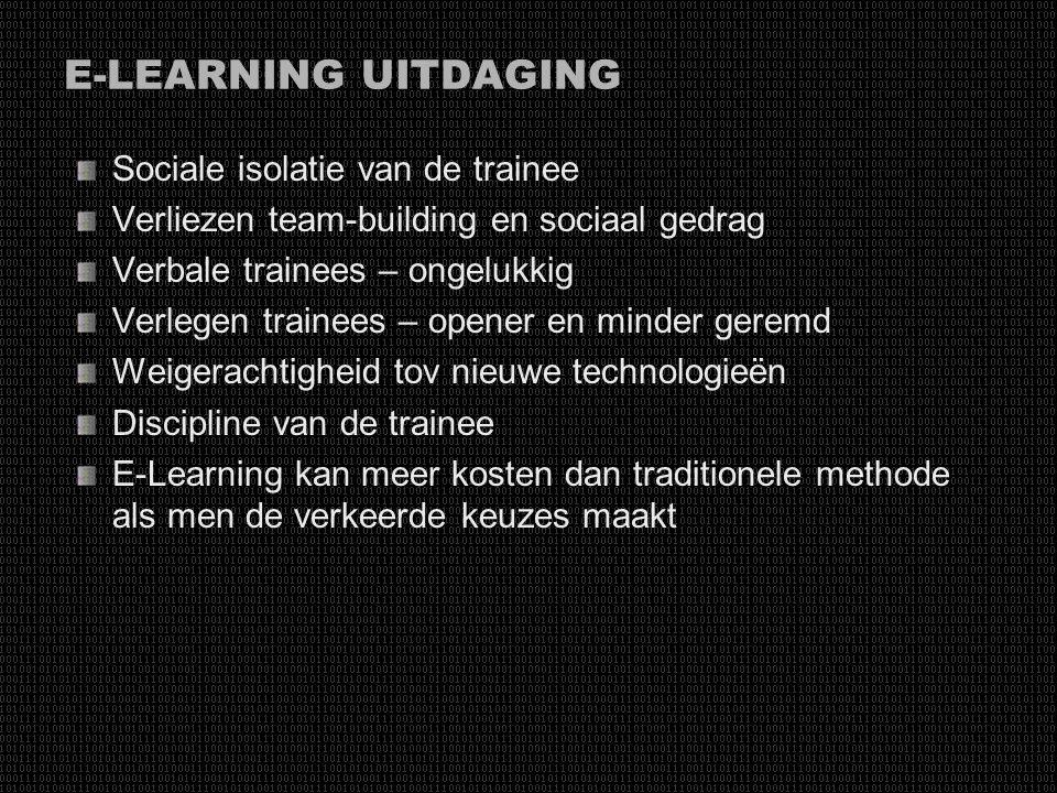 E-LEARNING VOORDEEL Tijd- en geldbesparingen grootste drijfveer Kwalitatieve en educatieve kwaliteiten Beschikbaarheid Herhaalbaarheid Flexibiliteit V