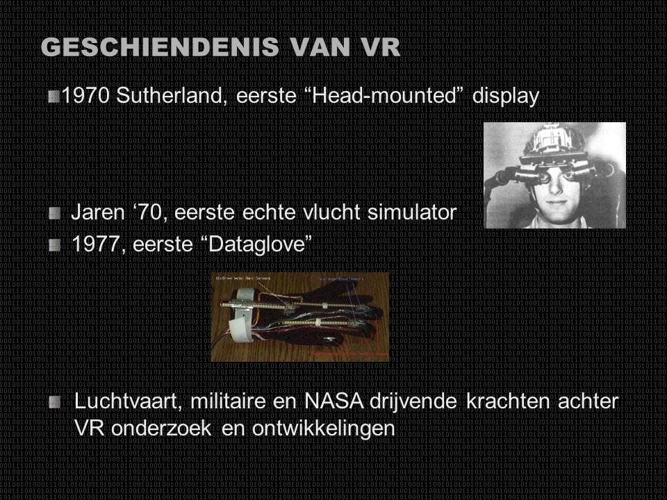 """GESCHIENDENIS VAN VR Jaren '30, eerste """"vlucht simulator"""" WOII Boeing bedradinginstallatie trainer Jaren '50, computerdata zichtbaar op een scherm ipv"""