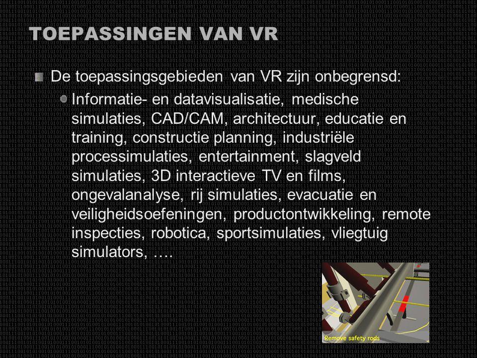 WAARDE VAN VR Dataverzameling met directe terugkoppeling van de prestaties van de gebruiker Veilige omgeving voor het trainen van zeer gevaarlijke tak