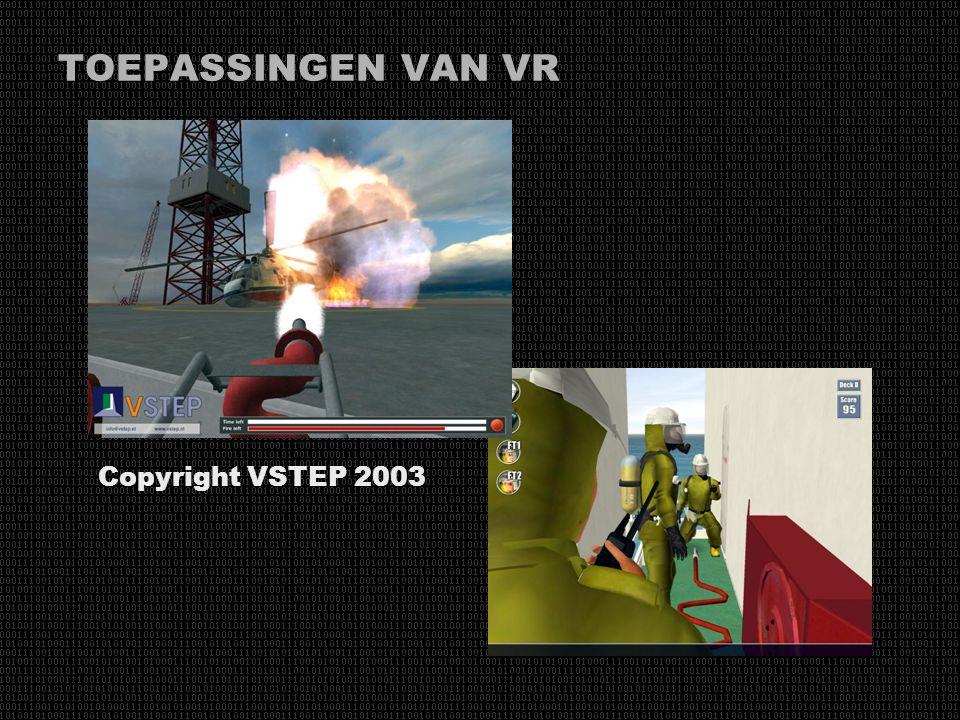 TOEPASSINGEN VAN VR De toepassingsgebieden van VR zijn onbegrensd: Informatie- en datavisualisatie, medische simulaties, CAD/CAM, architectuur, educat