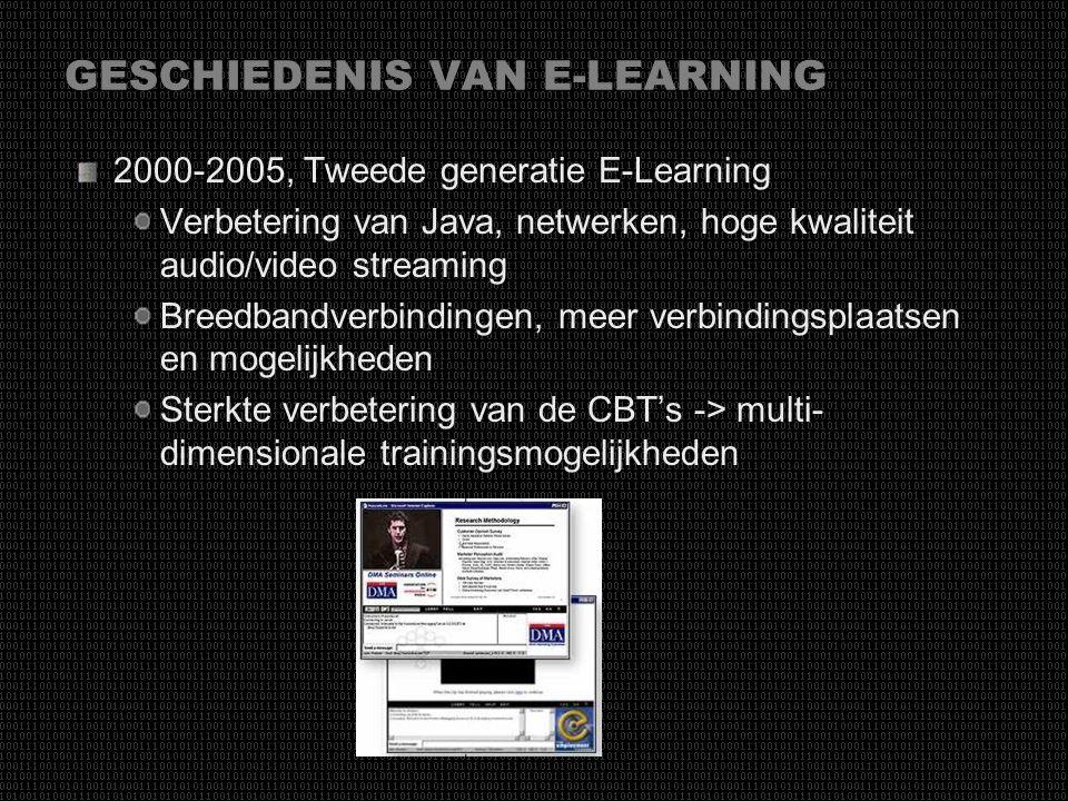 GESCHIEDENIS VAN E-LEARNING 1994-1999, Eerste generatie E-learning Internet en nieuwe technologieën CBT Trainingsmethodes sterk verbeterd E-mail HTML,