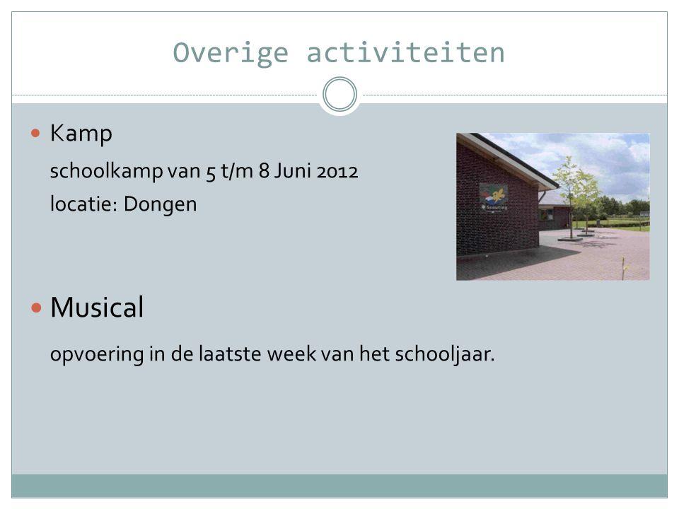Overige activiteiten  Kamp schoolkamp van 5 t/m 8 Juni 2012 locatie: Dongen  Musical opvoering in de laatste week van het schooljaar.