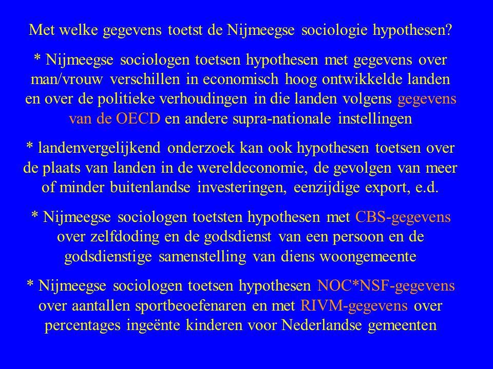 Met welke gegevens toetst de Nijmeegse sociologie hypothesen.