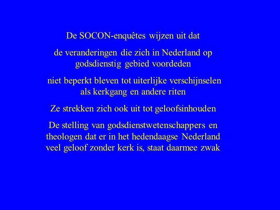 De SOCON-enquêtes wijzen uit dat de veranderingen die zich in Nederland op godsdienstig gebied voordeden niet beperkt bleven tot uiterlijke verschijnselen als kerkgang en andere riten Ze strekken zich ook uit tot geloofsinhouden De stelling van godsdienstwetenschappers en theologen dat er in het hedendaagse Nederland veel geloof zonder kerk is, staat daarmee zwak