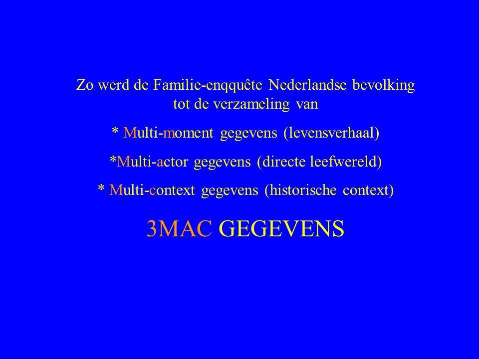 Zo werd de Familie-enqquête Nederlandse bevolking tot de verzameling van * Multi-moment gegevens (levensverhaal) *Multi-actor gegevens (directe leefwereld) * Multi-context gegevens (historische context) 3MAC GEGEVENS