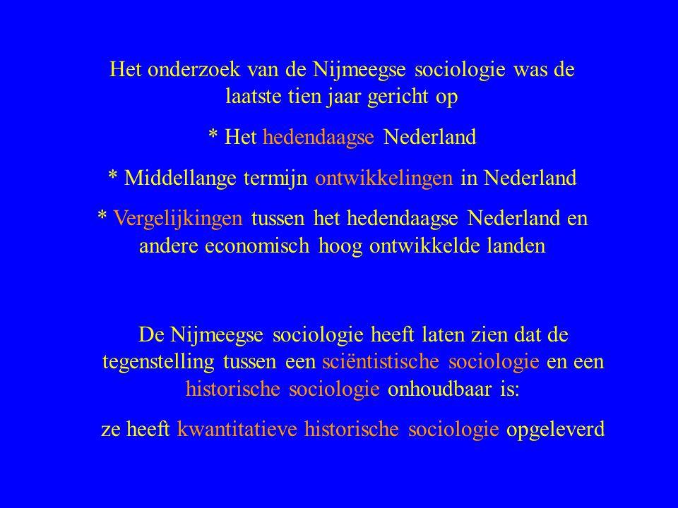 Het onderzoek van de Nijmeegse sociologie was de laatste tien jaar gericht op * Het hedendaagse Nederland * Middellange termijn ontwikkelingen in Nederland * Vergelijkingen tussen het hedendaagse Nederland en andere economisch hoog ontwikkelde landen De Nijmeegse sociologie heeft laten zien dat de tegenstelling tussen een sciëntistische sociologie en een historische sociologie onhoudbaar is: ze heeft kwantitatieve historische sociologie opgeleverd
