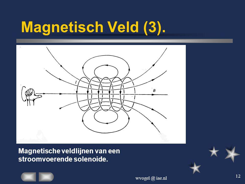 wvogel @ iae.nl 12 Magnetisch Veld (3). Magnetische veldlijnen van een stroomvoerende solenoide.