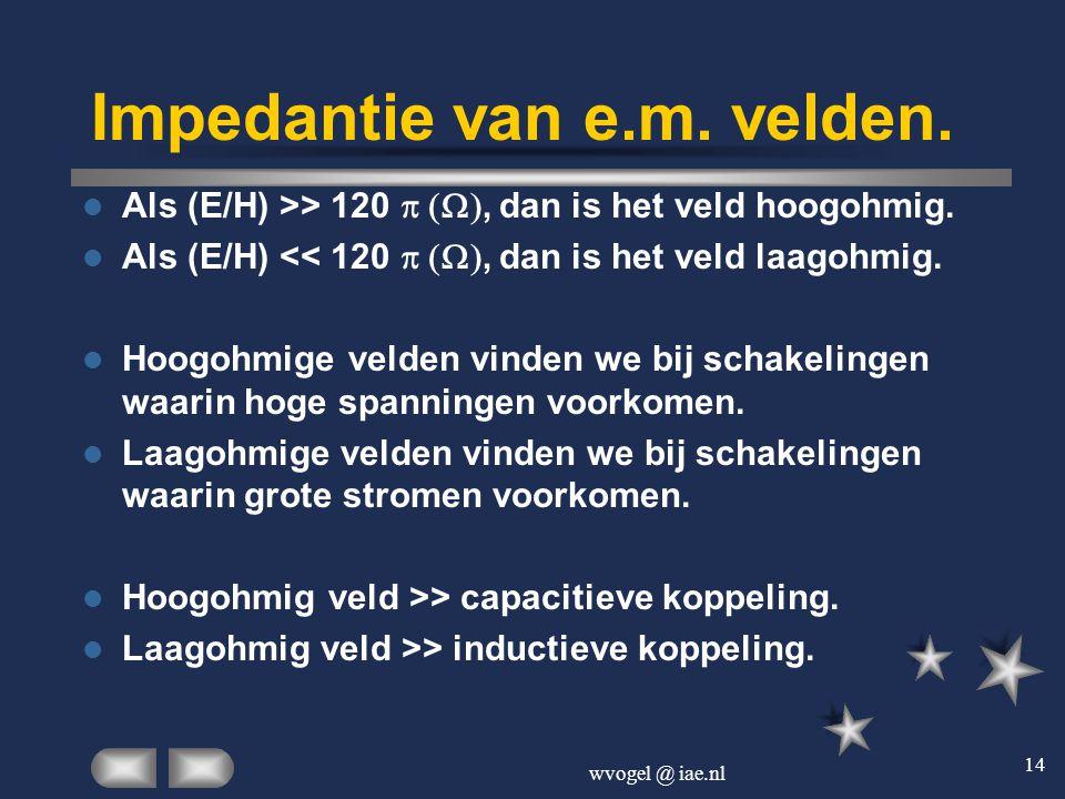 wvogel @ iae.nl 14 Impedantie van e.m. velden.  Als (E/H) >> 120 , dan is het veld hoogohmig.  Als (E/H) << 120 , dan is het veld laagohmi