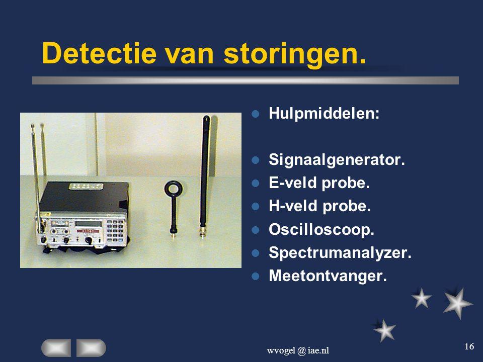 wvogel @ iae.nl 16 Detectie van storingen.  Hulpmiddelen:  Signaalgenerator.  E-veld probe.  H-veld probe.  Oscilloscoop.  Spectrumanalyzer.  M