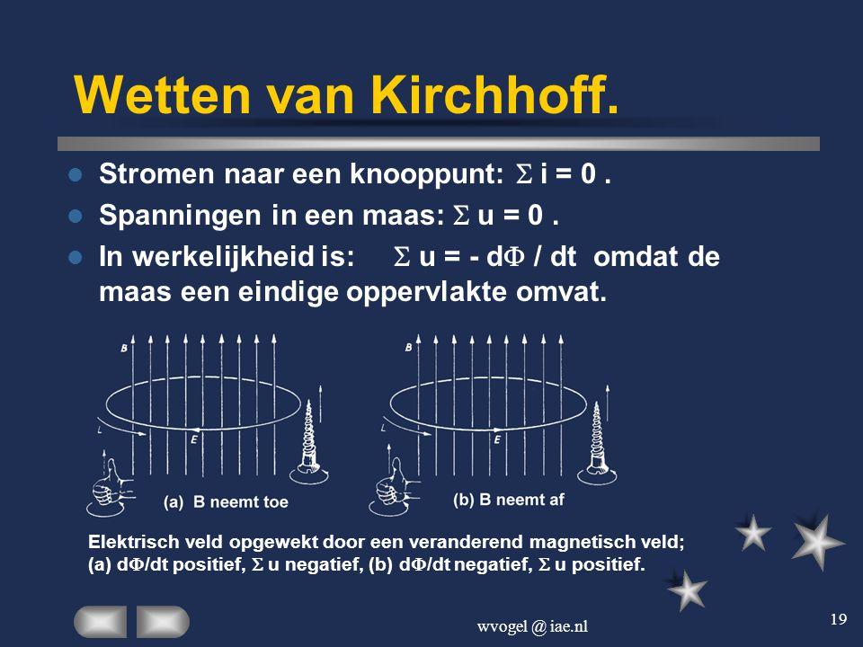 wvogel @ iae.nl 19 Wetten van Kirchhoff.  Stromen naar een knooppunt:  i = 0.  Spanningen in een maas:  u = 0.  In werkelijkheid is:  u = - d