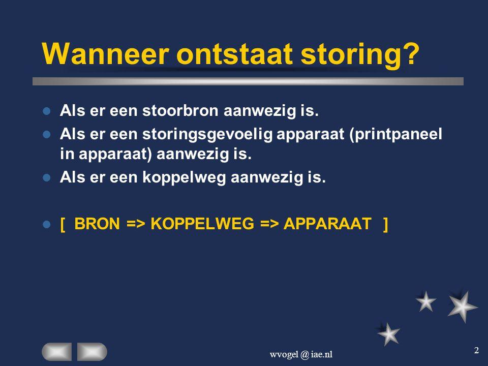 wvogel @ iae.nl 23 Storingzoektechniek (4). Probeer de storing te minimaliseren door de d.c.