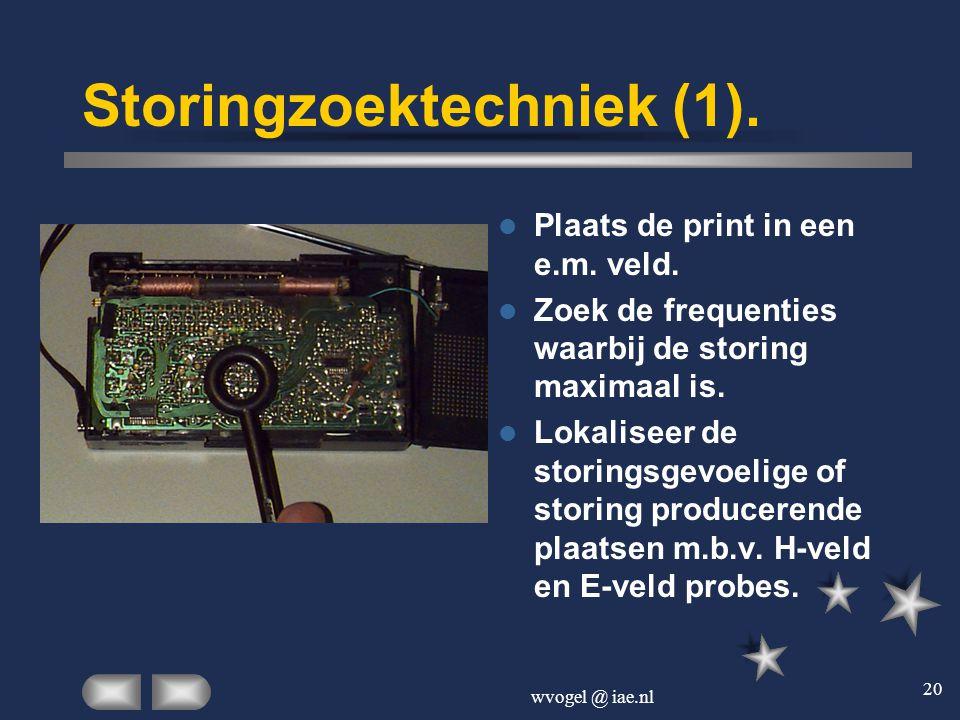 wvogel @ iae.nl 20 Storingzoektechniek (1).  Plaats de print in een e.m. veld.  Zoek de frequenties waarbij de storing maximaal is.  Lokaliseer de