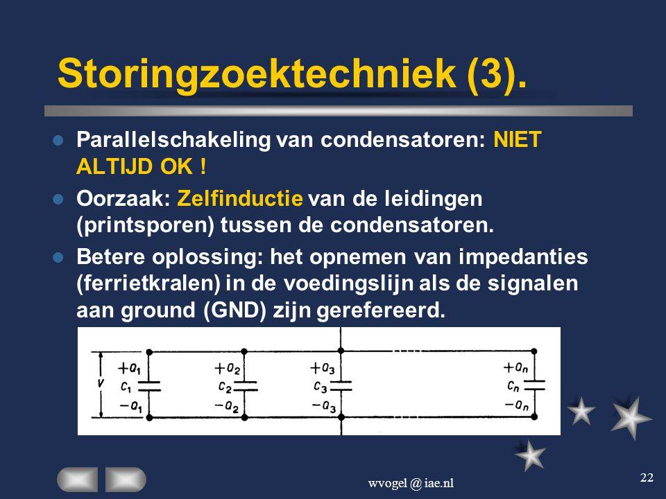 wvogel @ iae.nl 22 Storingzoektechniek (3).  Parallelschakeling van condensatoren: NIET ALTIJD OK !  Oorzaak: Zelfinductie van de leidingen (printsp