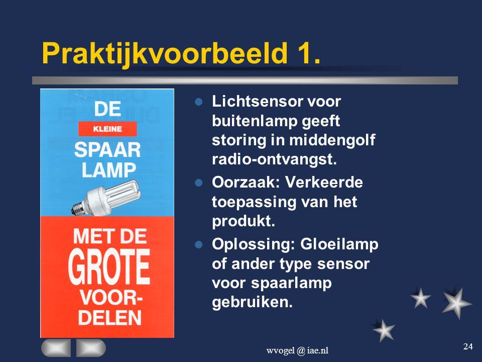 wvogel @ iae.nl 24 Praktijkvoorbeeld 1.  Lichtsensor voor buitenlamp geeft storing in middengolf radio-ontvangst.  Oorzaak: Verkeerde toepassing van
