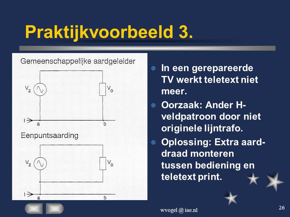 wvogel @ iae.nl 26 Praktijkvoorbeeld 3.  In een gerepareerde TV werkt teletext niet meer.  Oorzaak: Ander H- veldpatroon door niet originele lijntra