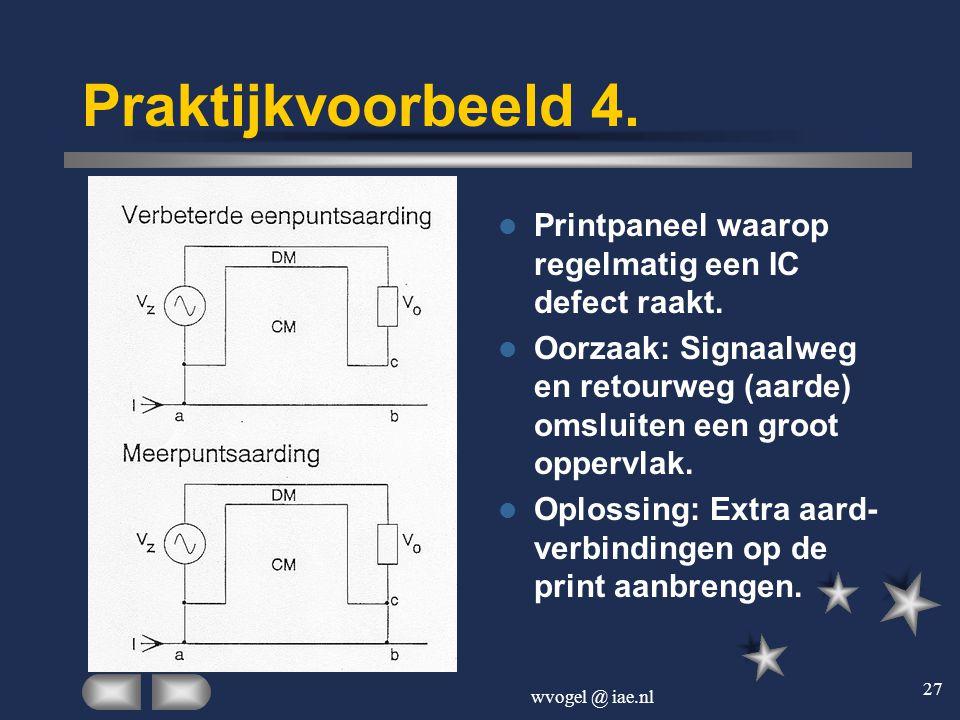 wvogel @ iae.nl 27 Praktijkvoorbeeld 4.  Printpaneel waarop regelmatig een IC defect raakt.  Oorzaak: Signaalweg en retourweg (aarde) omsluiten een