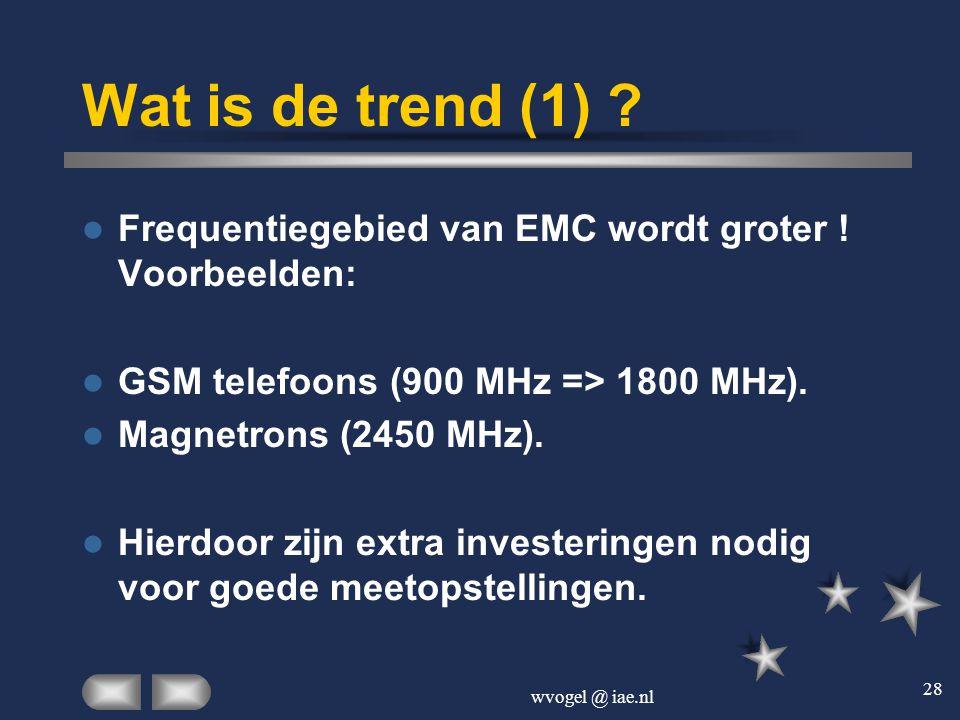wvogel @ iae.nl 28 Wat is de trend (1) ?  Frequentiegebied van EMC wordt groter ! Voorbeelden:  GSM telefoons (900 MHz => 1800 MHz).  Magnetrons (2
