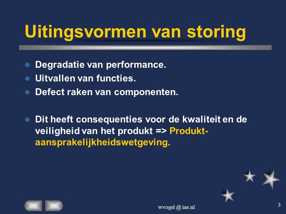 wvogel @ iae.nl 3 Uitingsvormen van storing  Degradatie van performance.  Uitvallen van functies.  Defect raken van componenten.  Dit heeft conseq