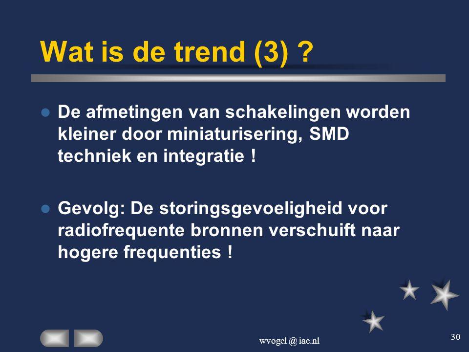 wvogel @ iae.nl 30 Wat is de trend (3) ?  De afmetingen van schakelingen worden kleiner door miniaturisering, SMD techniek en integratie !  Gevolg: